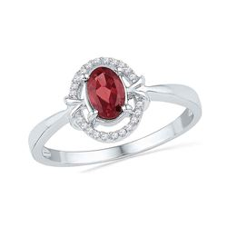 Womens Oval Lab-Created Garnet Solitaire Ring 3/4 Cttw 10kt White Gold - REF-10A5M