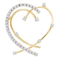 Womens Round Diamond Wire Heart Pendant 1/5 Cttw 14kt Yellow Gold - REF-18F5W