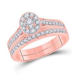 Round Diamond Bridal Wedding Ring Band Set 1/2 Cttw 10kt Rose Gold - REF-36K9Y
