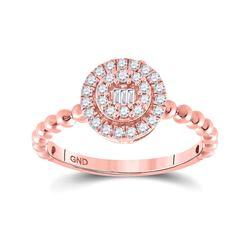 Womens Baguette Diamond Circle Cluster Ring 1/4 Cttw 10kt Rose Gold - REF-20N5F