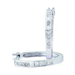 Womens Princess Diamond Slender Hoop Earrings 1/3 Cttw 14kt White Gold - REF-32H5R