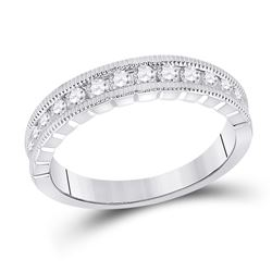 Womens Round Diamond Single Row Band Ring 1/2 Cttw 14kt White Gold - REF-46M5H
