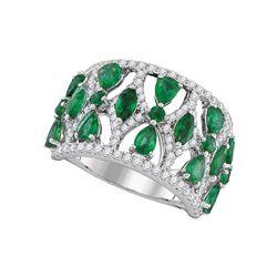 Womens Pear Emerald Diamond Fashion Ring 2-3/4 Cttw 18kt White Gold - REF-192H9R