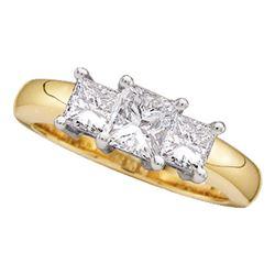 Princess Diamond 3-stone Bridal Wedding Engagement Ring 1 Cttw 14kt Yellow Gold - REF-111H5R