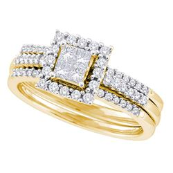 Princess Diamond 3-Piece Bridal Wedding Ring Band Set 1/2 Cttw 14kt Yellow Gold - REF-58A9M