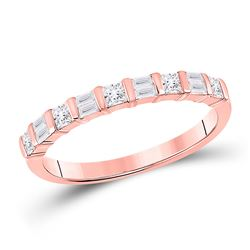 Womens Baguette Princess Diamond Anniversary Ring 1/2 Cttw 14kt Rose Gold - REF-32H9R