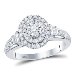 Round Diamond Oval Bridal Wedding Engagement Ring 1/2 Cttw 10kt White Gold - REF-37R9X
