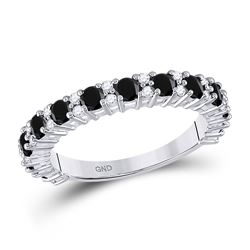 Womens Round Black Color Enhanced Diamond Wedding Band Ring 1 Cttw 10kt White Gold - REF-23X5A