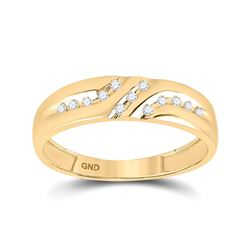 Mens Round Diamond Wedding Band Ring 1/8 Cttw 10kt Yellow Gold - REF-12A5M