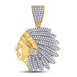 Mens Round Diamond Native Headdress Charm Pendant 1/2 Cttw 10kt Yellow Gold - REF-41X5A