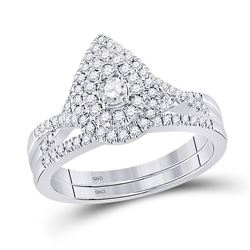 Round Diamond Bridal Wedding Ring Band Set 1/2 Cttw 10kt White Gold - REF-52R9X