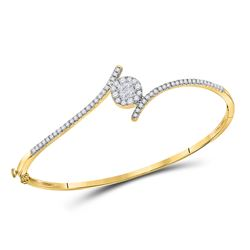Womens Princess Diamond Bypass Bangle Bracelet 3/4 Cttw 14kt Yellow Gold - REF-80W9K