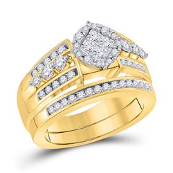 Princess Diamond Bridal Wedding Ring Band Set 1 Cttw 14kt Yellow Gold - REF-109W5K