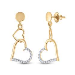 Womens Round Diamond Heart Dangle Earrings 1/10 Cttw 14kt Yellow Gold - REF-10K5Y