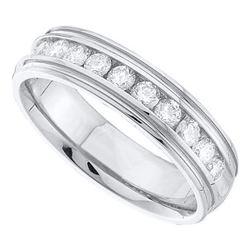 Mens Round Diamond Band Ridged Edge Wedding Band 1/4 Ctw 14k White Gold - REF-49Y9N