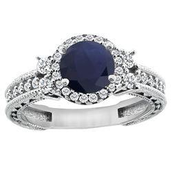 1.46 CTW Blue Sapphire & Diamond Ring 14K White Gold - REF-177W3F