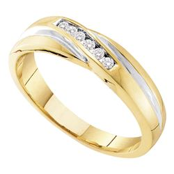 Mens Round Diamond Wedding Band Ring 1/8 Cttw 10kt Yellow Gold - REF-18F9W