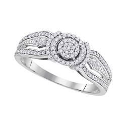 Round Diamond Cluster Bridal Wedding Engagement Ring 1/4 Cttw 10kt White Gold - REF-19A5M