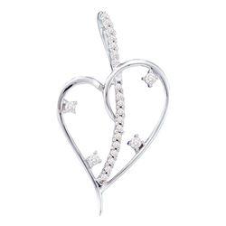 Womens Round Diamond Wire Heart Pendant 1/5 Cttw 14kt White Gold - REF-16R9X