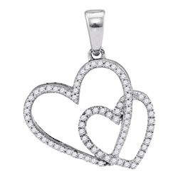 Womens Round Diamond Double Heart Pendant 1/5 Cttw 10kt White Gold - REF-13K9Y