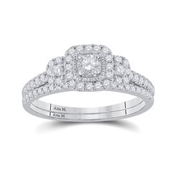 Round Diamond Bridal Wedding Ring Band Set 1/2 Cttw 14kt White Gold - REF-52A9M