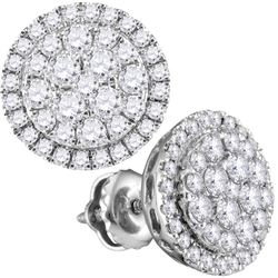 Womens Round Diamond Circle Cluster Earrings 1-1/2 Cttw 14kt White Gold - REF-104W9K