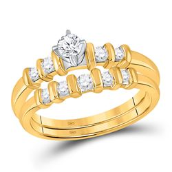 Round Diamond Bridal Wedding Ring Band Set 3/8 Cttw 10kt Yellow Gold - REF-30K9Y