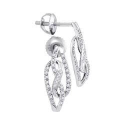 Womens Round Diamond Fashion Earrings 1/6 Cttw 10kt White Gold - REF-14M9H