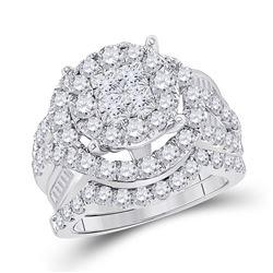 Princess Diamond Bridal Wedding Ring Band Set 3 Cttw 14kt White Gold - REF-239M9H
