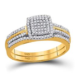Round Diamond Bridal Wedding Ring Band Set 1/3 Cttw 10kt Yellow Gold - REF-30N9F