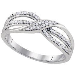 Womens Round Diamond Twist Band Ring 1/10 Cttw 10kt White Gold - REF-14A9M