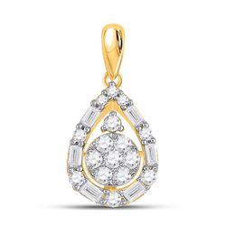 Womens Round Diamond Teardrop Cluster Pendant 1/2 Cttw 14kt Yellow Gold - REF-32F5W