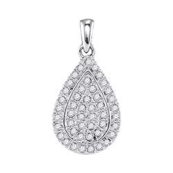 Womens Round Diamond Framed Teardrop Cluster Pendant 1/4 Cttw 10kt White Gold - REF-17K5Y