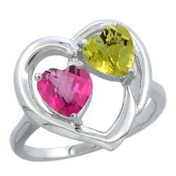 2.61 CTW Diamond, Pink Topaz & Lemon Quartz Ring 14K White Gold - REF-33M5A