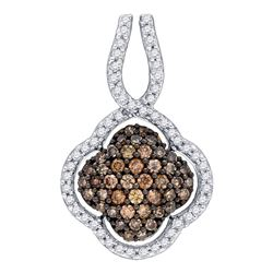 Womens Round Brown Diamond Quatrefoil Pendant 1/2 Cttw 10kt Yellow Gold - REF-19H9R