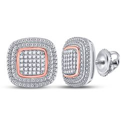 Womens Round Diamond Square Cluster Earrings 1/6 Cttw 10kt Two-tone Gold - REF-24W9K