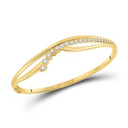 Womens Round Diamond Graduated Journey Bangle Bracelet 1 Cttw 14kt Yellow Gold - REF-129R9X