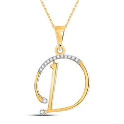 Womens Round Diamond D Initial Letter Pendant 1/12 Cttw 10kt Yellow Gold - REF-8Y9N