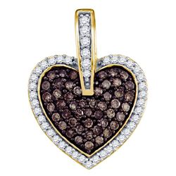 Womens Round Brown Diamond Heart Pendant 1/2 Cttw 10kt Yellow Gold - REF-19F5W