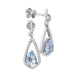 Womens Pear Natural Aquamarine Diamond Dangle Earrings 1/3 Cttw 14kt White Gold - REF-70A9M