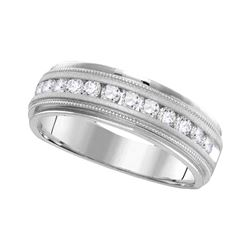 Mens Round Diamond Comfort-fit Wedding Anniversary Band 1/4 Cttw 14k White Gold - REF-43A5M