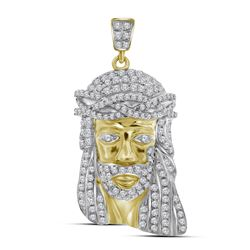 Mens Round Diamond Jesus Face Charm Pendant 3/4 Cttw 10kt Yellow Gold - REF-38F9W