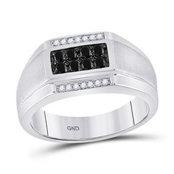 Mens Round Black Color Enhanced Diamond Rectangle Cluster Ring 3/8 Cttw 10kt White Gold - REF-34H5R