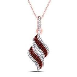 Womens Round Red Color Enhanced Diamond Cascading Fashion Pendant 1/3 Cttw 10kt Rose Gold - REF-19N5