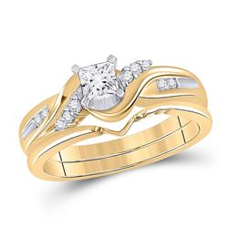 Princess Diamond Bridal Wedding Ring Band Set 1/2 Cttw 14kt Yellow Gold - REF-87X5A