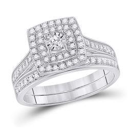 Round Diamond Halo Bridal Wedding Ring Band Set 1/2 Cttw 10kt White Gold - REF-38M9H