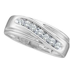 Mens Round Diamond Wedding Single Row Band Ring 1/4 Cttw 10kt White Gold - REF-22F5W
