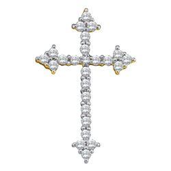 Womens Round Diamond Pointed Cross Crucifix Faith Pendant 1/4 Cttw 10kt Yellow Gold - REF-15N9F