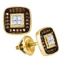 Womens Round Brown Diamond Square Cluster Earrings 1/3 Cttw 10kt Yellow Gold - REF-19K5Y
