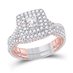 Princess Diamond Bridal Wedding Ring Band Set 1-1/2 Cttw 14kt Two-tone Gold - REF-131M5H